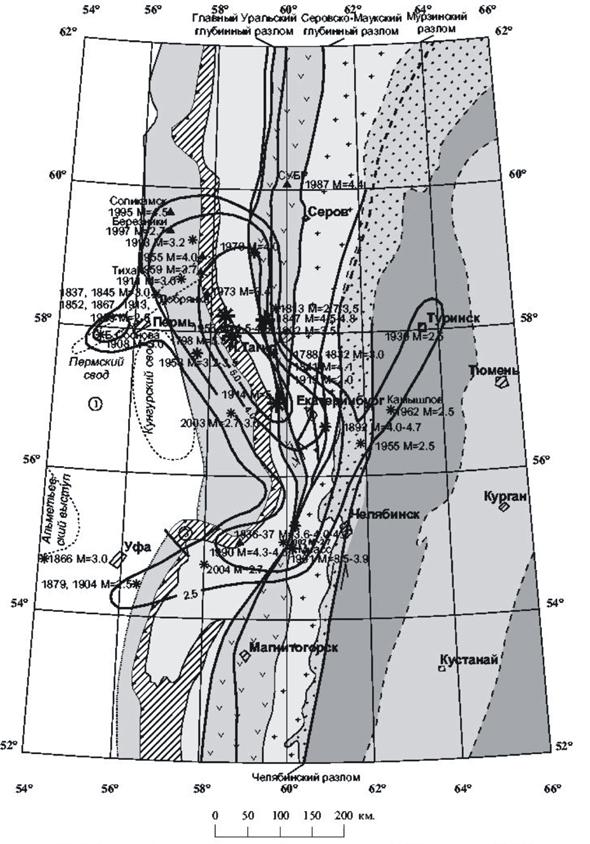 тектонических разломов,